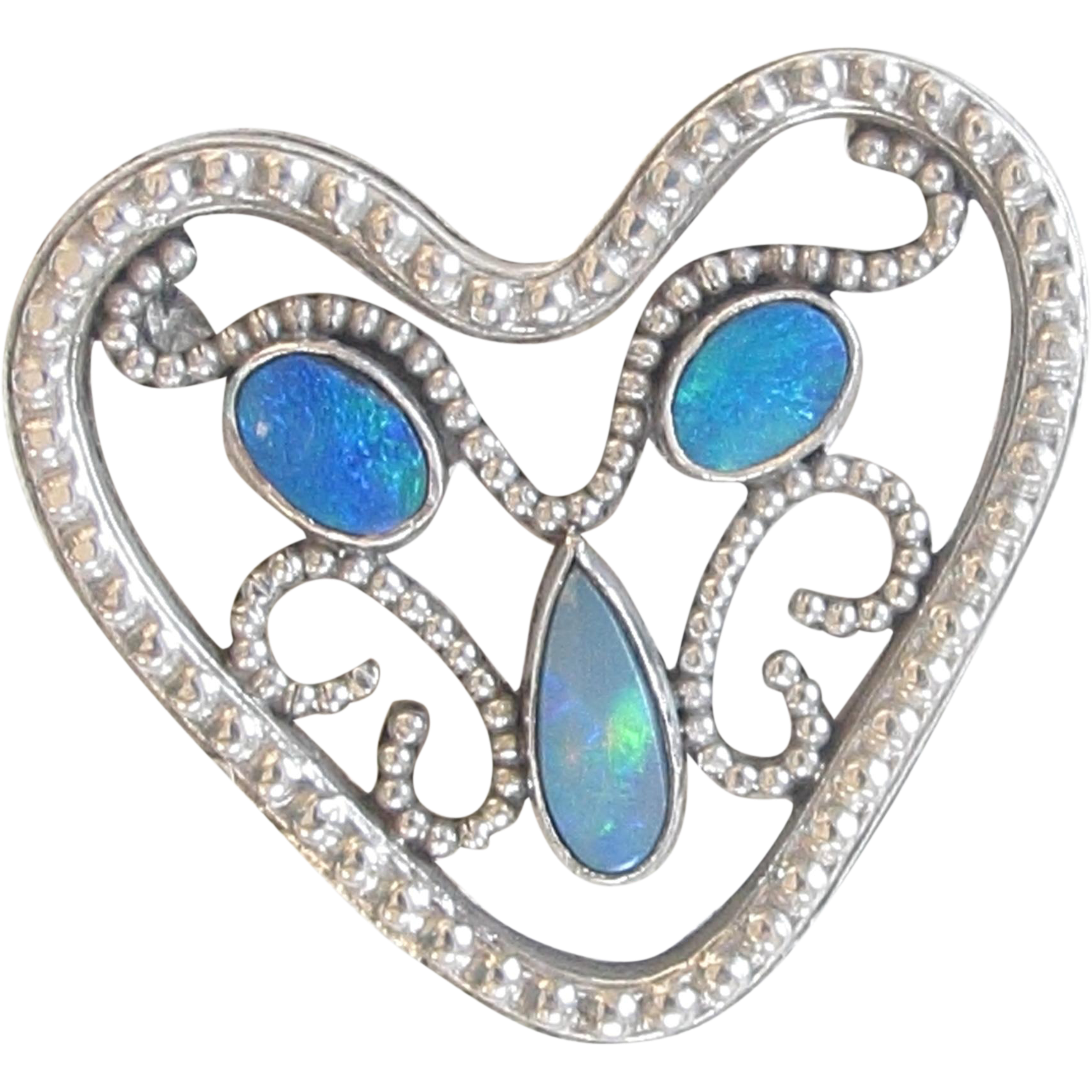 Arts & Crafts/Art Nouveau Silver and Opal Doublet Heart Brooch Pin