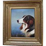 Oil on Canvas of a Collie Dog in Substantial Gild Wood & Gesso Frame by Colin Graeme Roe  1858-1910