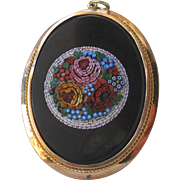 Large Antique Victorian Rose Gold Pendant with Micromosaic Micro-Mosaic Micro Mosaic of Flowers c.1860s
