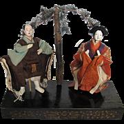 Japanese 1900-50s 'Tableau Dolls' TWO Ningyo Noh Kabuki Theatre Theater Samurai & Maiden