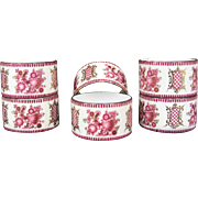 Set of SIX NAPKIN Rings Antique Enamel Serviette Continental