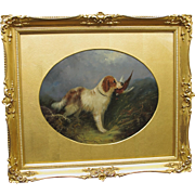 Antique Langlois Oil  of A Dog Retriever Spaniel with Game Bird Pheasant