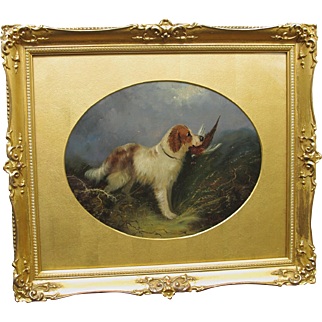 Antique Langlois Oil  of A Dog Retriever Spaniel with Game Bird Pheasant