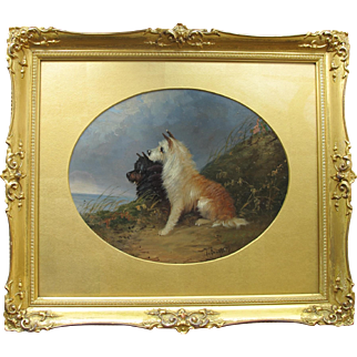 Jean Langlois Antique English Oil of Two Terriers Late 19th century.