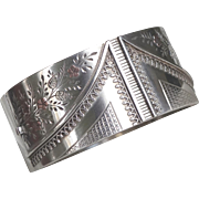 Antique English Sterling Silver Wide Bangle Bracelet with Inlaid Gold Floral Design
