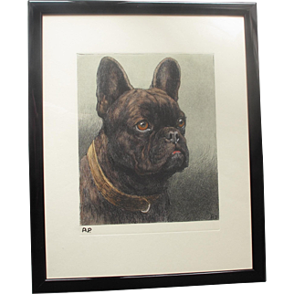 Herbert Dicksee 1862-1942 Etching of Shaver a French Bulldog Dog his Pet