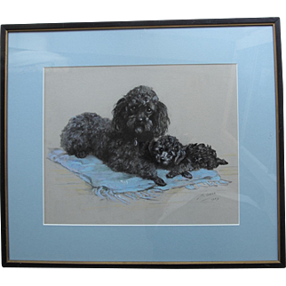 Poodle Dog & Puppy 1957 Pastel by Mabel Gear 1898-1987 English