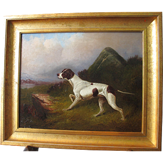 Gun Dog on the Scent Oil on Canvas Antique 1892 Much Listed English Artist Colin Graeme Roe