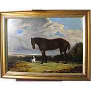 Antique English School Oil on Canvas of a Horse and a King Charles Spaniel Dog