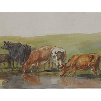English Watercolour/watercolor Study of Cows at Water Mid 20th century