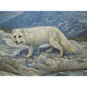 Arthur Spencer Roberts 1920-1977 Artic Fox in Wild Landscape Oil on Canvas 1950s