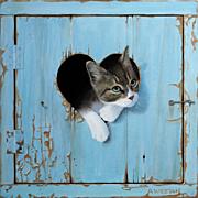 Trompe l'Oeil of a Kitten in a Heart Oil on Board  Alan Weston