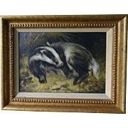 Badger Oil on Board Much Listed and Renowned Artist John Edwards (1940-