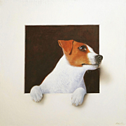 Trompe L'Oeil of a Jack Russell Dog by British Artist Alan Weston Oil on Canvas