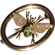 Victorian Bug pin in 9 ct Gold with Peridot Brooch Antique English