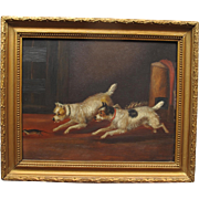Antique English Oil on Board Two Terrier Pursuing a Rat