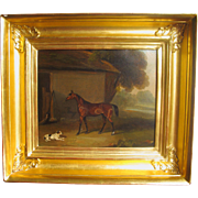 Georgian Equestrian Oil on Canvas Dog Terrier Horse English Antique Painting