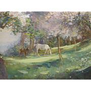 English Watercolour Watercolor of Horses and Spring Apple Blossom by Adela Stobart 1885-1950 Mare Foal