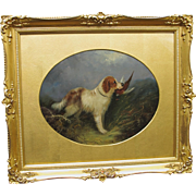 Jean Langlois Antique Oil Painting Retreiver Spaniel Dog with Game English