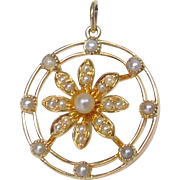 Edwardian English Antique 15 ct Gold & Seed Pearl Pendant