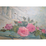 French Impressionistic Flowers Flower Scattered Roses Rose by Pascal 1900-1957 Oil on Board Still Life