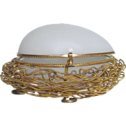 Ormolu Gilt Metal White Opaline Egg Box in a Nest Palais Royale 19th Century