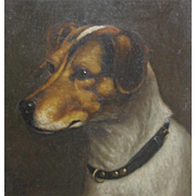 Jack Russell Dog Terrier Oil on Canvas Painting English Manner of J A Wheeler