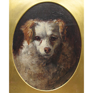 Portrait Study of a Spaniel Dog Antique English Harry Frier 1849-1919 Much Listed Oil on Board Painting