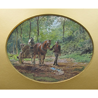 English Antique Watercolour Watercolor of a Carter and his Horses in the Countryside c.1890
