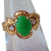 Late Art Dec 1930s/40s 18ct Gold Jade and Diamond Ring