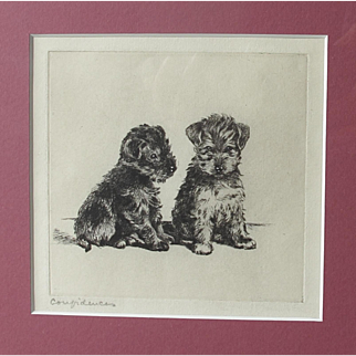 ORIGINAL ETCHING by Lucy Dawson Much Listed Artist 'Confidences' Terriers 1920/30s