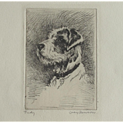 ORIGINAL SIGNED Lucy DAWSON Etching of JUDY a Wire Haired Fox Terrier Dog by Much Listed Artist
