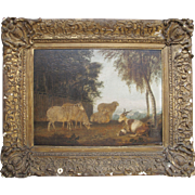 Antique English School Sheep and Goats in Rural Landscape Oil Painting on Board c. 1850