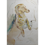 Watercolour Painting of a Dachshund Dog 1961 by Roland Ossory Dunlop 1894-1973 Watercolor Highly Listed