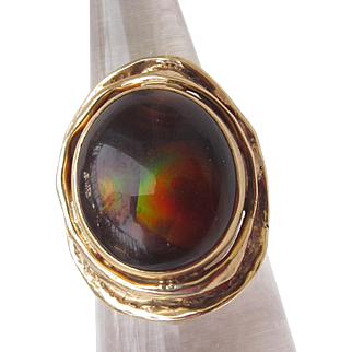 HUGE Iconic English 70s Designer Ring Fire Agate and 9ct Gold