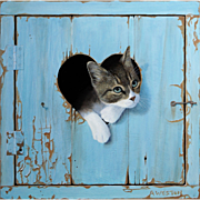 Trompe L'Oeil Kitten Cat in a Heart by Alan Weston -  Limited Edition of 25 on Stretched Canvas