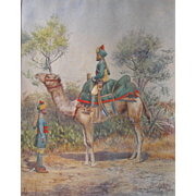 Anglo-Indian Raj Watercolour Painting of a Camel and Indian Army Officer Poona Watercolor