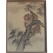 EXQUISITE Japanese Late Edo Early Meiji Period Monkey Painting Colour laid on Silk