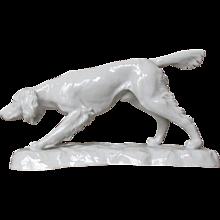 Art Deco  Pointer Setter Dog by Rosenthal blanc de chine white porcelain Designer  Otto Eichwald