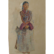Antique 1884 Painting of a Tibetan Lady in National/Traditional Costume by Walter Duncan RA 1852-1932