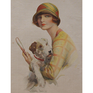 Vintage 1920s Print on Silk of a Lady and a Wire-Haired Fox Terrier Dog by Forman's