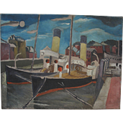 Clive Gardiner 1891-1960 Wemouth Harbour oil on canvas