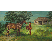 Mare & Foal Horse William Hepple 1854-1937 oil on canvas 1910 well listed artist