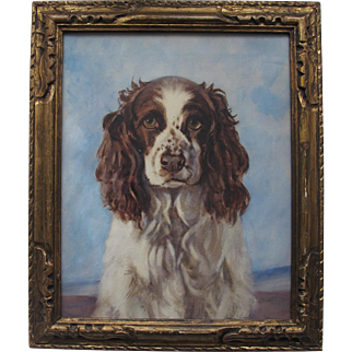 Portrait Study of a Spaniel Dog Watercolour Watercolor Painting c.1920s Carved Wood Frame