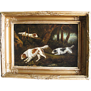 Georgian Antique Oil of Three Spaniel Game Scent Dogs Hounds in a Wood. Original Frame