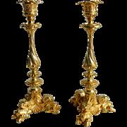 French Antique c. 1840 Gilt Ormolu Candlesticks