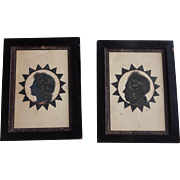 PAIR Antique Silhouettes - Lady & Man with Gold Highlights