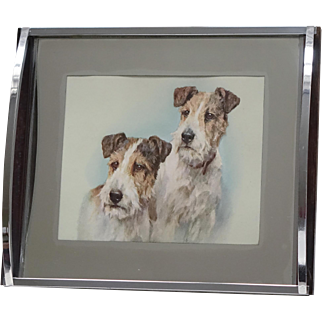 Art Deco Mirror and Chrome Tray with Image of Two Dogs Wire-haired Fox Terriers