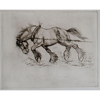 Signed Etching by Anton Lock 1893-1979 English of a Cart Horse Working Horse
