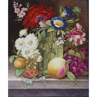EXQUISITE Antique c.1820-30 Still Life of Flowers and Fruit on Porcelain Plaque English Painting Ornate Gilt Gesso Frame